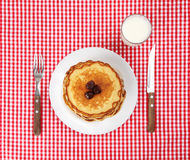 Setting with pancakes stack Royalty Free Stock Photography