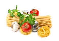 Setting pasta with tomato and garlic Royalty Free Stock Photos