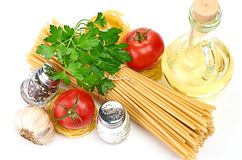 Setting pasta with tomato and garlic Stock Image
