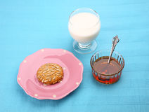 Setting with pink plate Stock Photo