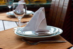 Setting of restaurant table Royalty Free Stock Image
