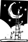 Setting Stars. People on a ladder resting against a moon put stars in the sky Royalty Free Stock Photos