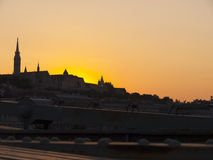 The Setting sun in Budapest Hungary Royalty Free Stock Image