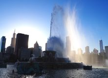 Sunset behind Buckingham Fountain, Chicago Royalty Free Stock Photography