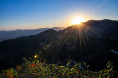 The setting sun in Fragrance Hills Royalty Free Stock Photo