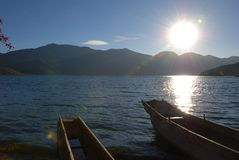 In setting sun lake. In the setting sun lake, is beautiful.    here is the Chinese Sichuan is beautiful, original ecology Lugulake Royalty Free Stock Image