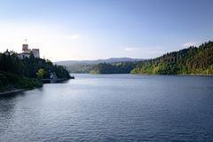 The setting sun on the lake, the Niedzica Castle / landscape. Panoramic view of the Czorsztynskie lake and castle in Niedzica town / landscape stock image