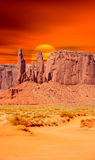 Setting Sun Monument Valley Royalty Free Stock Photos