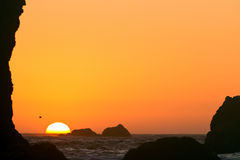 Setting sun, Oregon coast Royalty Free Stock Photo