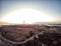 Aerial view at sunset in Norway royalty free stock images