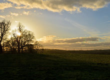 Setting sun over the English landscape. Royalty Free Stock Photo