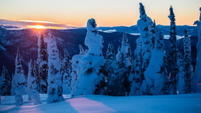 Setting sun over snowy mountains and trees Stock Images