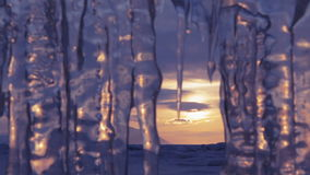 Setting sun is reflected in icicles. Move the focus. Beautiful winter Lake Baikal stock video