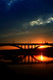 Setting sun. Scenery,sunset,The light,bridge,Riverside Royalty Free Stock Photography