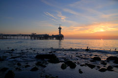 Setting sun at scheveningen stock images