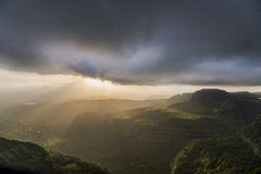 Setting sun from Tiger Point, Lonavala, India Stock Photography