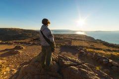 Setting sun on Titicaca Lake, Amantani' Island, Peru Stock Photos