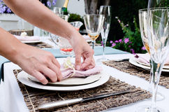 Setting a table for outdoor entertainment Stock Images