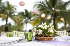 Setting Table. Table setting for a wedding reception or event royalty free stock photos