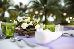 Setting Table. Table setting for a wedding reception or event stock images
