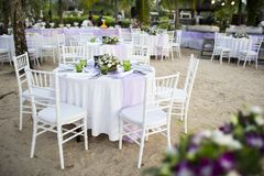 Setting Table. Table setting for a wedding reception or event royalty free stock photo