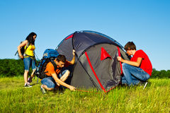 Setting a tent Stock Photography