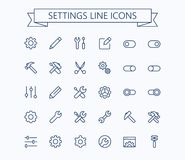 Free Setting Thin Line Mini Icons Set. 24x24 Grid. Pixel Perfect.Editable Stroke. Stock Photography - 103644502