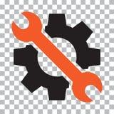Setting tools icon. Black and orange objects. Vector illustration stock illustration