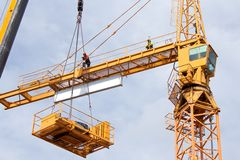 Setting Up A Tower Crane Royalty Free Stock Image