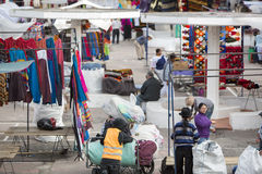 Setting up the market of Otavalo, Ecuador Stock Image