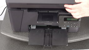 Setting up office printer stock video footage