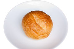 Bun bread on a white plate Royalty Free Stock Images
