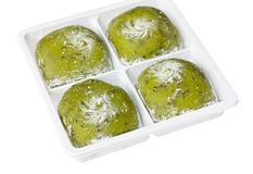 Closeup of Japanese daifuku, green tea flavour. Stock Photos