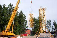 Setting up a tower crane Royalty Free Stock Images
