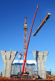 Setting Up A Tower Crane In The Construction Site. Royalty Free Stock Photography