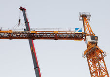 Setting Up A Tower Crane, Counter Jib Is Installed. Royalty Free Stock Photos