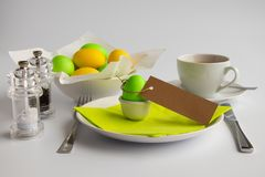 Studio photograph symbolizing Easter breakfast or brunch with empty space stock photos