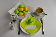 Studio photograph symbolizing Easter breakfast or brunch with empty space stock image