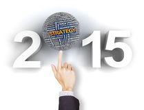 Setting your 2015 business strategy. Composite image of clicking 2015 business strategy text Royalty Free Stock Image