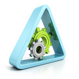 Settings blue and green industrial gears icon on white Royalty Free Stock Photos