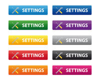 Settings buttons. Collection of settings buttons isolated on white background Royalty Free Stock Image