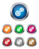 Settings buttons. Collection of settings buttons in various colors Stock Photos