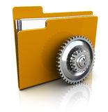 Settings folder. 3d illustration of folder icon with gear wheel, over white background Royalty Free Stock Image