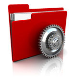 Settings folder icon. 3d illustration of red folder icon with gear wheel Stock Photography