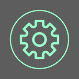 Settings, gear circular line icon. Round colorful sign. Flat style vector symbol. Royalty Free Stock Photos