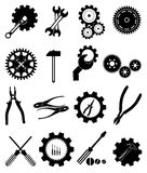 Settings gear tools icons set Stock Image