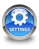 Settings glossy blue round button Royalty Free Stock Images