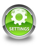 Settings glossy green round button Stock Photo