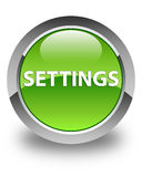 Settings glossy green round button Royalty Free Stock Image