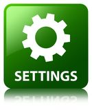 Settings green square button Stock Photo